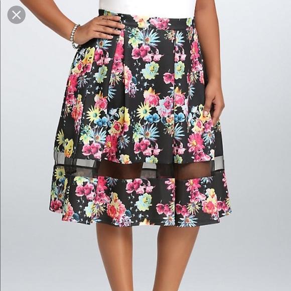 torrid Dresses & Skirts - Torrid Floral Scuba mesh inset skater skirt